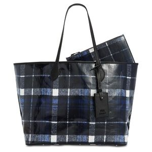 NWOT Steve Madden Lindy Plaid Laminated Large Tote